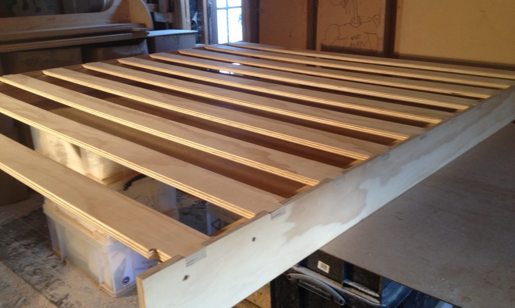 The bed slats assembled