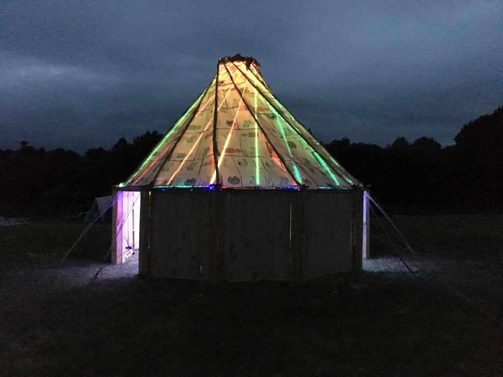 The temple lit by LEDs